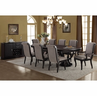 Brookeshire Transitional 5pc Double Pedestal Dining Table Set In Espresso