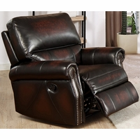 Brooklyn Burgundy Lay Flat Recliner In Top Grain Leather