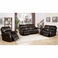 Brooklyn Burgundy Lay Flat Reclining 3pc Sofa Set In Top-Grain Leather