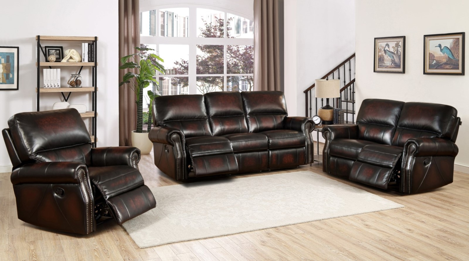 Brooklyn Burgundy Lay Flat Reclining 3pc Sofa Set In Top ...