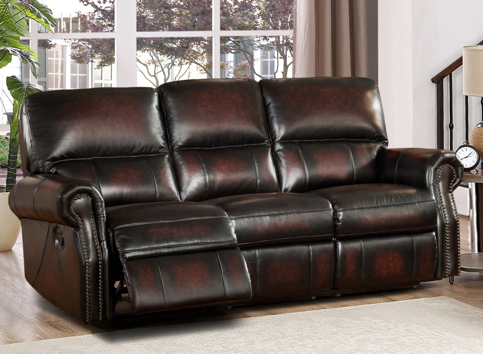 Brooklyn Burgundy Lay Flat Reclining 3pc Sofa Set In Top