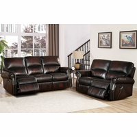 Brooklyn Burgundy Lay Flat Reclining Sofa & Loveseat Set In Top-Grain Leather
