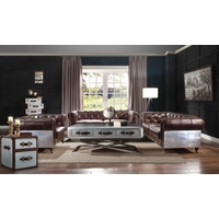 Brown Chesterfield Sofa Loveseat Chair 3 Pc Set 100% Genuine Leather Aviation Aluminum