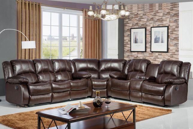 Swell Brown Faux Leather Reclining Motion Sectional Sofa W Pdpeps Interior Chair Design Pdpepsorg