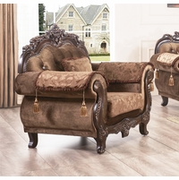 Brown Floral Fabric Arm Chair Carved Wood Frame Dark Walnut Finish