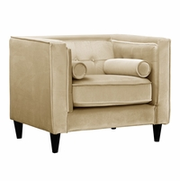 Brycen Contemporary Beige Velvet Chair with Button-Tufted Accents