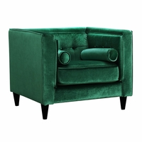 Brycen Contemporary Green Velvet Chair with Button-Tufted Accents