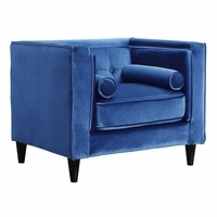 Brycen Contemporary Light Blue Velvet Chair with Button-Tufted Accents