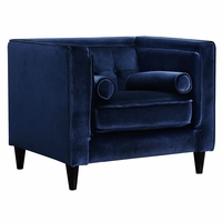 Brycen Contemporary Navy Velvet Chair with Button-Tufted Accents