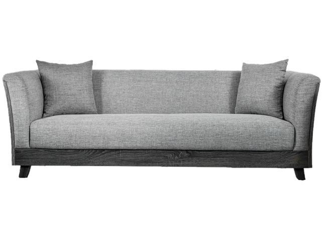 Cailin Contemporary Sofa with Wood Sides and Backing in Gray Linen ...