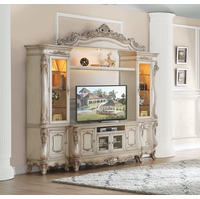 Callie Traditional Antique White Ornate TV Entertainment Center Wall Unit