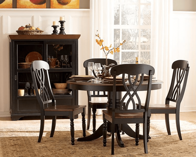 Ohana Country Cottage Round 5pc Dining Room Set Black & Cherry