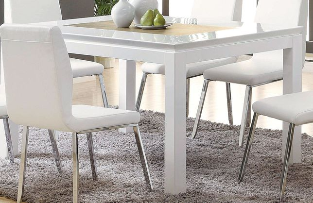 Camila 60 Dining Table With Wood Inlay Table Top High Gloss White