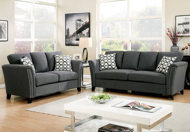 Campbell Contemporary Sofa & Loveseat Set in Gray Fabric w/ Accent ...