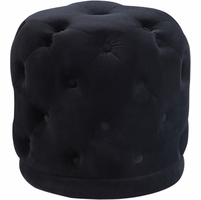 Carlinn Contemporary Deep Button-Tufted Ottoman Stool Pouf in Black Velvet