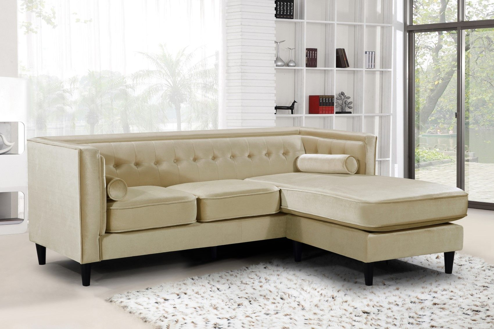 Carlinne Modern Button Tufted Beige Velvet Sectional with ...