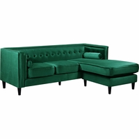 Carlinne Modern Button Tufted Green Velvet Sectional with Reversible Chaise