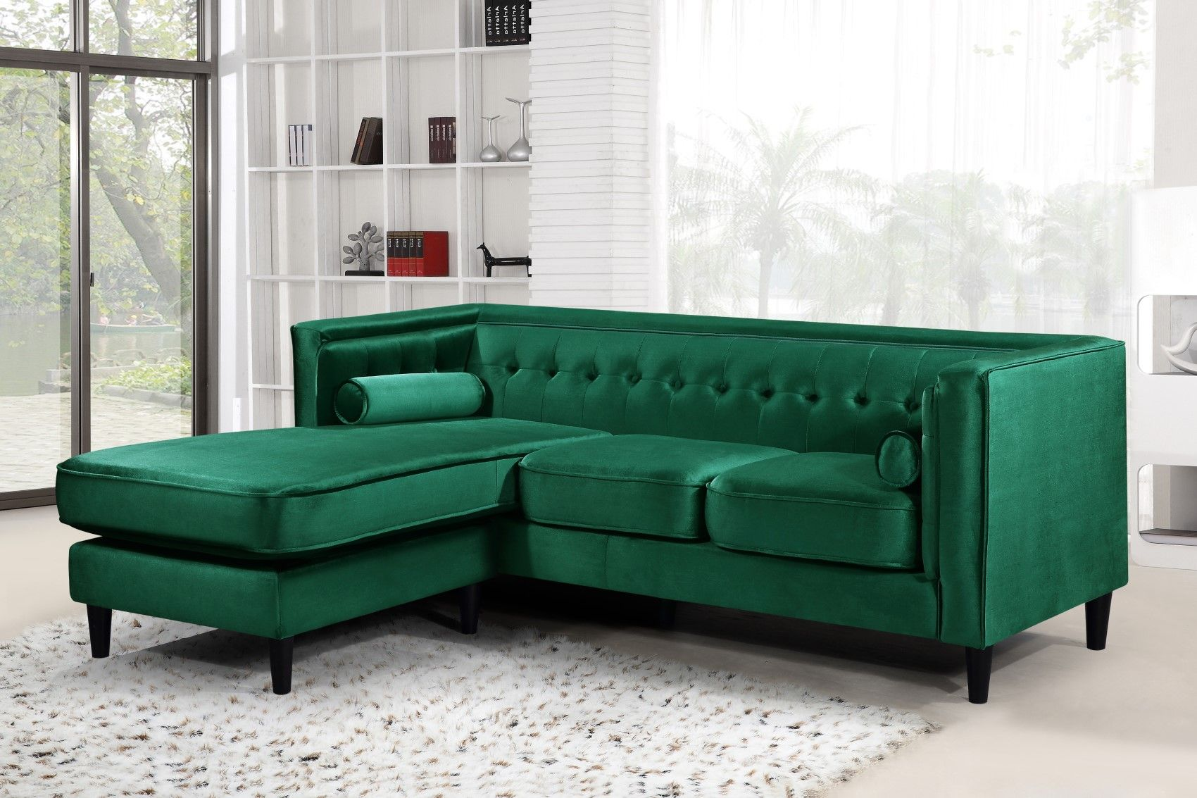 Carlinne Modern Button Tufted Green Velvet Sectional with ...