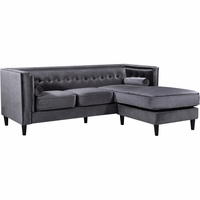 Carlinne Modern Button Tufted Grey Velvet Sectional with Reversible Chaise