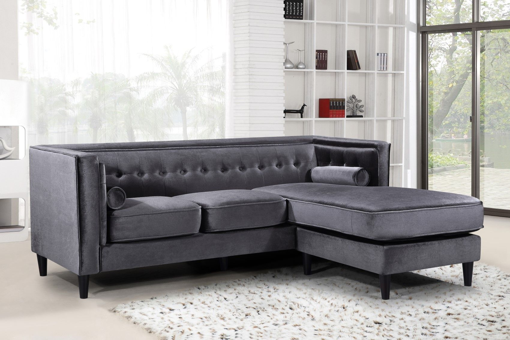 Carlinne Modern Button Tufted Grey Velvet Sectional with ...