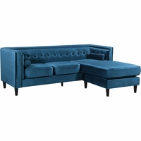 Carlinne Modern Button Tufted Light Blue Velvet Sectional w/ Reversible Chaise