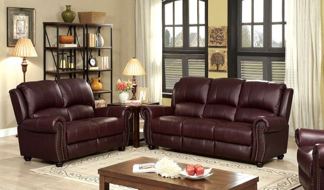 Carlton Traditional Burgundy Sofa & Loveseat In Top Grain ...