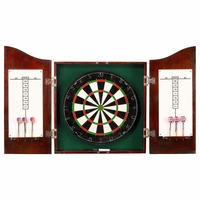 Carmelli Centerpoint Solid Wood Dartboard & Cabinet Set in Dark Cherry Finish