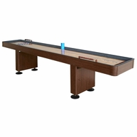 Carmelli Challenger 9-Ft Shuffleboard Table with Storage Cabinets in Walnut Finish