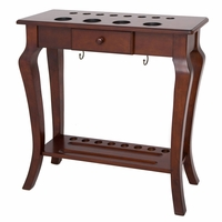Carmelli Deluxe Floor Billiards Pool Cue Rack w/Drink & Ball Holder in Walnut Finish