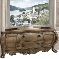 Carolongian Traditional Ornate Bombe Style TV Console in Vintage Oak Finish