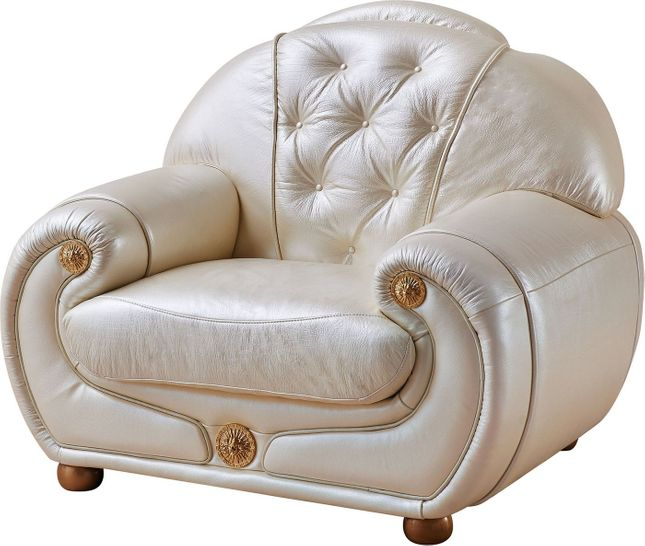Carsoli Modern Chic Ivory Genuine Italian Leather Chair with Gold Accents