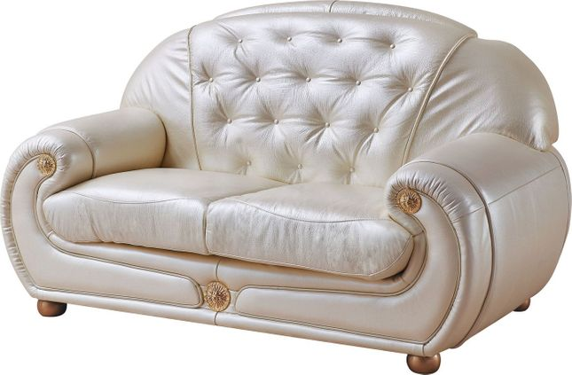 Carsoli Modern Chic Ivory Genuine Italian Leather Loveseat with Gold Accents