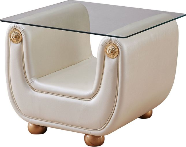 Carsoli Modern Ivory Genuine Italian Leather Glass Top End Table w/ Gold Accents