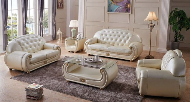 Carsoli Modern Chic Ivory Genuine Italian Leather Sofa Set with Gold Accents