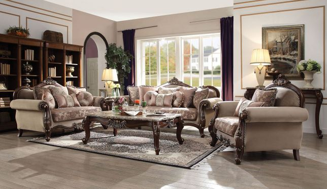 Cassidy Classic Victorian Beige Fabric Sofa & Loveseat Set w/Exposed Wood Frame