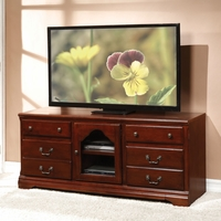 Cassius Traditional TV Stand with Raised Drawer Fronts in Cherry Finish