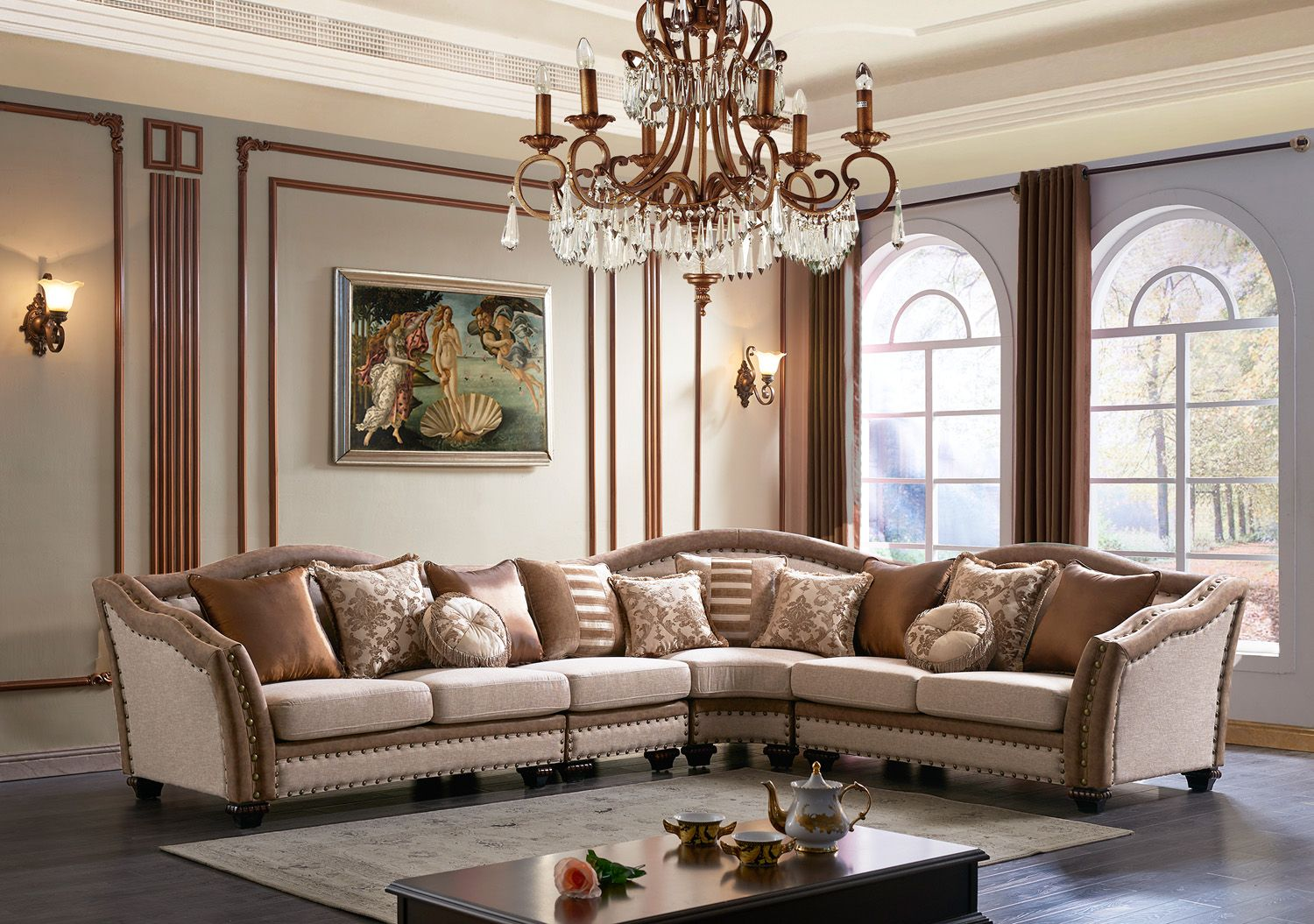 Chateau Formal Traditional Living Room Furniture Sectional Sofa Neutral Fabric
