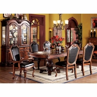 Chateau II Traditional Cherry Formal Dining Room Furniture Set Black Seats