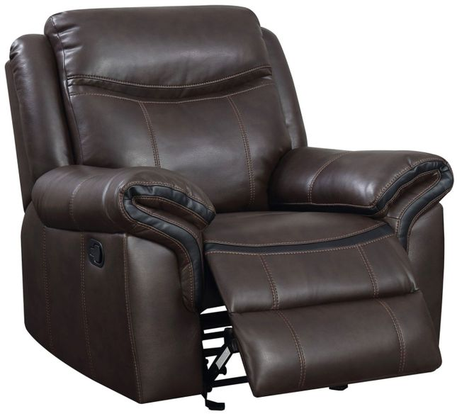 Chenai Transitional Glider Recliner In Brown Breathable Leather Gel Upholstery