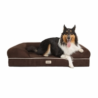 Chester Large Solid Memory Foam Pet/Dog Bed with Brown Removable Cover & Non-Slip Bottom