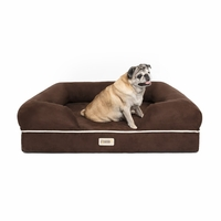 Chester Medium Solid Memory Foam Pet/Dog Bed with Brown Removable Cover & Non-Slip Bottom