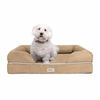 Chester Medium Solid Memory Foam Pet/Dog Bed with Khaki Removable Cover & Non-Slip Bottom