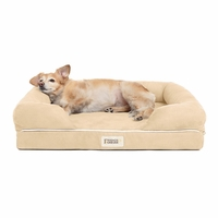 Chester Small Solid Memory Foam Pet/Dog Bed with Beige Removable Cover & Non-Slip Bottom