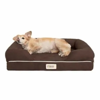 Chester Small Solid Memory Foam Pet/Dog Bed with Brown Removable Cover & Non-Slip Bottom