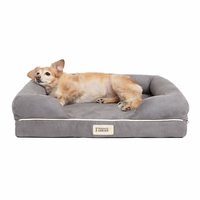 Chester Small Solid Memory Foam Pet/Dog Bed with Grey Removable Cover & Non-Slip Bottom