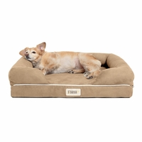 Chester Small Solid Memory Foam Pet/Dog Bed with Khaki Removable Cover & Non-Slip Bottom
