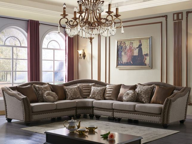 Swell Cheyenne Transitional Sectional Sofa In Beige Fabric And Pabps2019 Chair Design Images Pabps2019Com