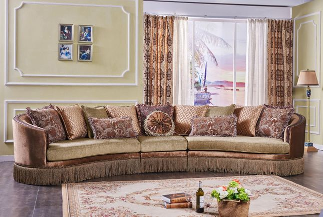 Classic 3 Piece Curved Multicolored Sectional Sofa Accent Pillows Bullion Fringe Skirt