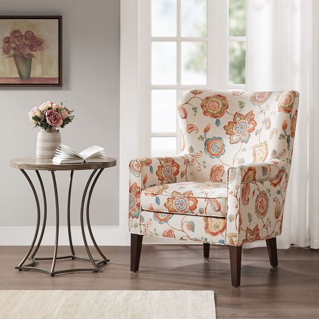Colette Accent Chair Solid Wood,Moroccan Neutral Brown Transitional Madison Park