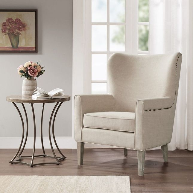 Colette Accent Wingback Chair Hard Wood, Brass Brown Transitional Madison Park